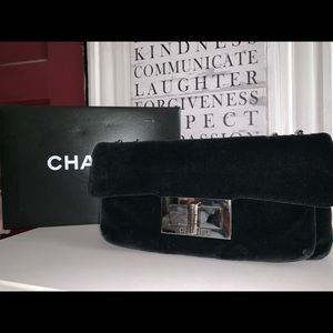 Chanel black velvet shoulder bag